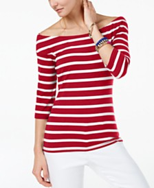 I.N.C. Striped Off-The-Shoulder Top, Created for Macy's