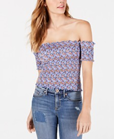 Crave Fame Juniors' Smocked Off-The-Shoulder Crop Top