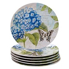 Hydrangea Garden Melamine 6-Pc. Dinner Plate Set