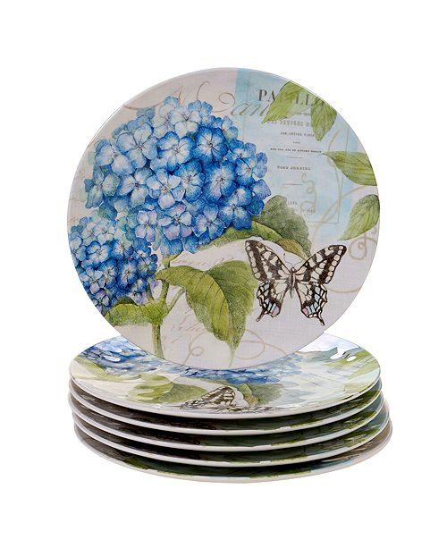 Certified International Hydrangea Garden Melamine 6-Pc. Dinner Plate Set