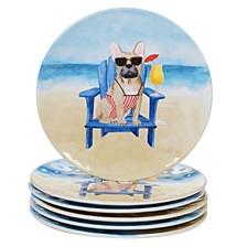 Hot Dogs Melamine 6-Pc. Salad Plate Set