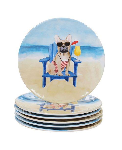 Certified International Hot Dogs Melamine 6-Pc. Salad Plate Set
