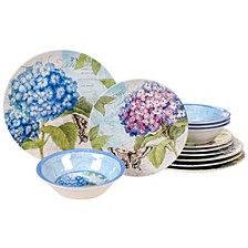 Hydrangea Garden Melamine 12-Pc. Dinnerware Set