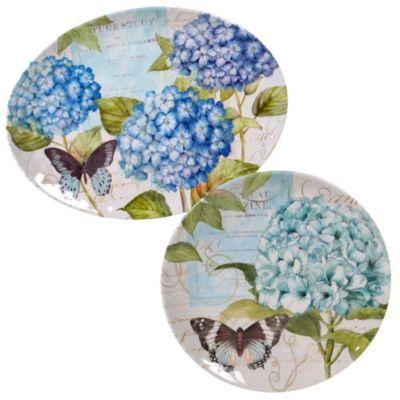 Hydrangea Garden Melamine 2-Pc. Platter Set - Round and Oval