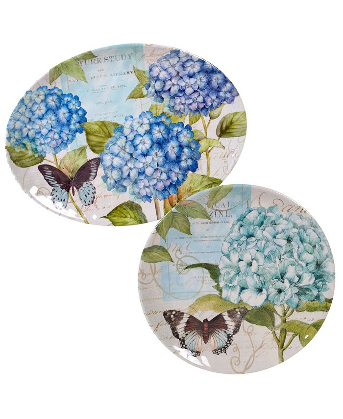 Certified International - Hydrangea Garden 2-Pc. Platter Set - Round and Oval