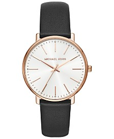 Michael Kors Women's Pyper Black Leather Strap Watch 38mm