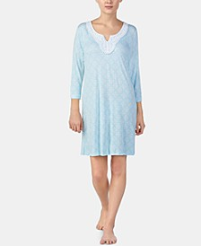 Lace-Trim Printed Tunic Nightgown