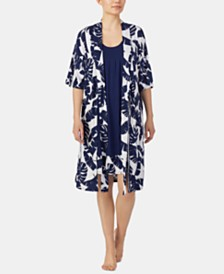 Ellen Tracy Border-Print Chemise Nightgown & Printed Wrap Robe Set