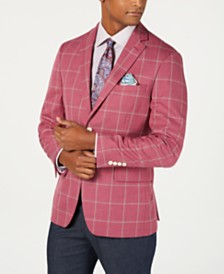 Tallia Men's Big and Tall Slim-Fit Windowpane Sport Coat