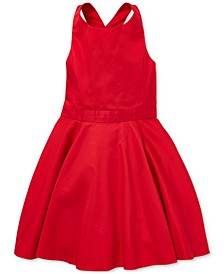 Toddler Girls Crossback Cotton Satin Dress