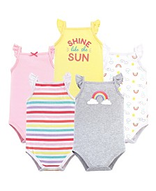 Hudson Baby Sleeveless Cotton Bodysuits, 5 Pack, 0-24 Months