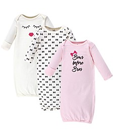Cotton Gowns, 3 Pack, 0-6 months