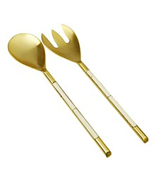 Stainless Steel Salad Servers with White Handle