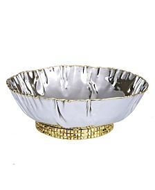 """Classic Touch 7.75"""" Stainless Steel Crumpled Bowl with Mosaic Base"""