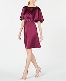 Embellished Cape A-Line Dress