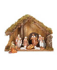 8 Piece Nativity Set With Italian Stable
