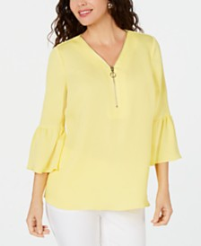 JM Collection Bell-Sleeve Zip Top, Created for Macy's