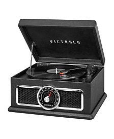 Victrolas 4-in-1 Nostalgic Plaza Bluetooth Record Player with 3-Speed Turntable and FM Radio