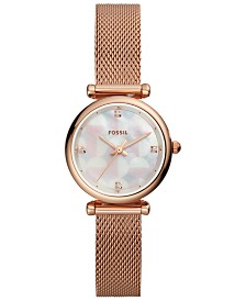 Fossil Women's Carlie Mini Rose Gold-Tone Stainless Steel Mesh Bracelet Watch 28mm