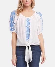 Karen Kane Cotton Embroidered-Front Top