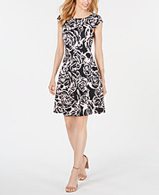 Robbie Bee Petite Printed Cap-Sleeve Dress