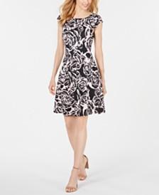 Robbie Bee Petite Printed Cap-Sleeve Dress