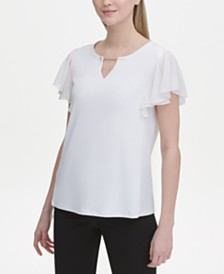 Calvin Klein Flutter-Sleeve Split-Neck Top