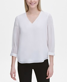 Calvin Klein 3/4-Sleeve V-Neck Top