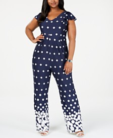 NY Collection Plus Size Flutter-Sleeve Jumpsuit