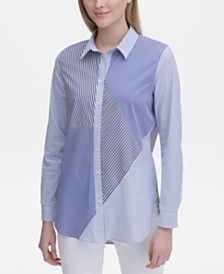 Calvin Klein Mixed-Stripe Boyfriend Button-Up Shirt