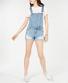 Juniors' Ripped Cuffed Denim Shortalls