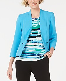 Kasper Kiss-Front Zippered-Pocket Blazer