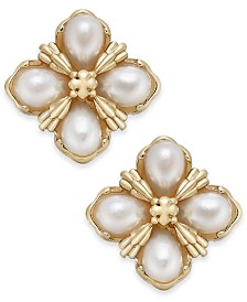 Charter Club Gold-Tone Imitation Pearl Cluster Stud Earrings, Created for Macy's