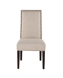 Jona Linen Dining Chairs with Dark Walnut Legs, Set of 2