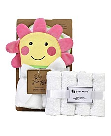 Flower Baby Hooded Towel With 4 Wash Cloths Gift Set