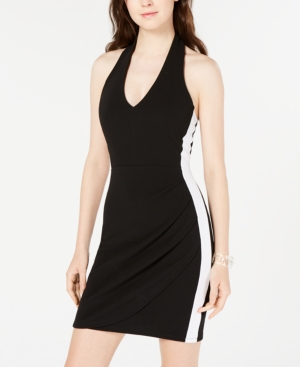 Almost Famous Juniors' Halter Wrap Dress In Black/White