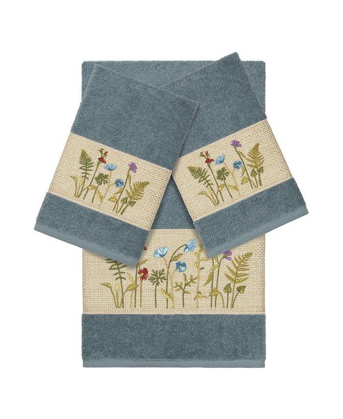 Linum Home - Turkish Cotton Serenity 3-Pc. Embellished Towel Set
