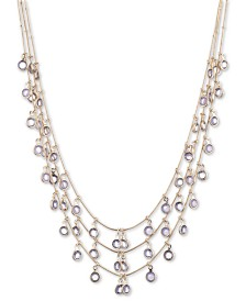 "Anne Klein Gold-Tone Stone Triple-Row Shaky Necklace, 17""+ 3"" extender"