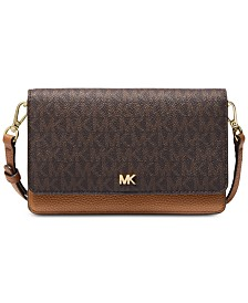 7495a1dc9c93 MICHAEL Michael Kors Signature Leather Phone Small Crossbody
