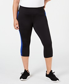 Ideology Plus Size Colorblocked Cropped Leggings, Created for Macy's
