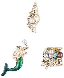 Anne Klein Gold-Tone 3-Pc. Set Crystal, Stone & Imitation Pearl Mermaid-Motif Pins, Created for Macy's
