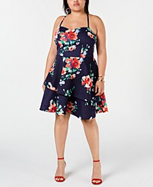 Trendy Plus Size Floral Fit & Flare Dress