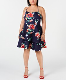 Sequin Hearts Plus Size Juniors' Floral Fit & Flare Dress