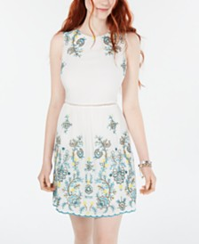 City Studios Juniors' Embroidered A-Line Dress