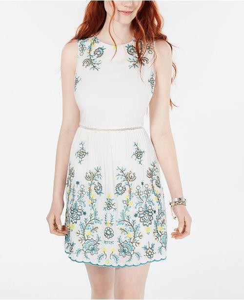 City Studios Juniors' Embroidered A-Line Dress