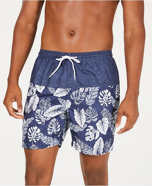"Trunks Surf & Swim Co. Men's Colorblocked Leaf-Print 6"" Swim Trunks"