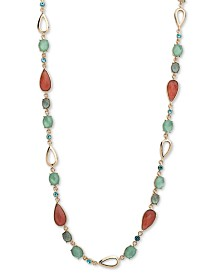 """Anne Klein Gold-Tone Crystal & Stone 42"""" Strand Necklace"""