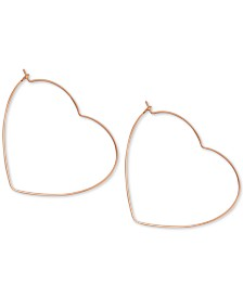 Essentials Heart Hoop Earrings in Rose Gold-Plate