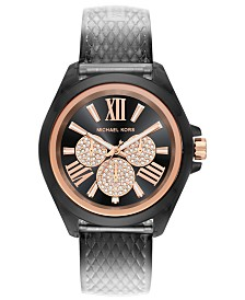 Michael Kors Women's Wren Ombre Black Polyurethane Strap Watch 42mm