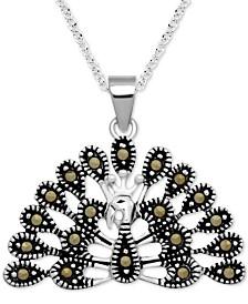 "Marcasite Peacock 18"" Pendant Necklace in Fine Silver-Plate"